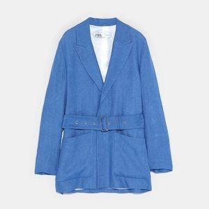 Zara indigo linen blazer with belt